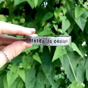 Hand stamped adjustable hammered metal bracelet